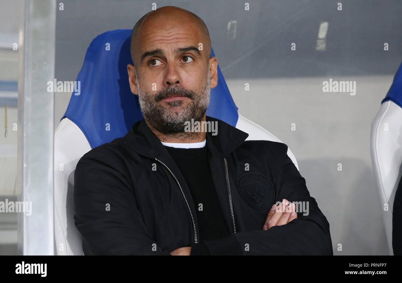 firo: 02.10.2018 Football, Football, Champions League: TSG Hoffenheim - Manchester City 1: 2 Pep Guardiola, gesture, portrait,   usage worldwide - Stock Image
