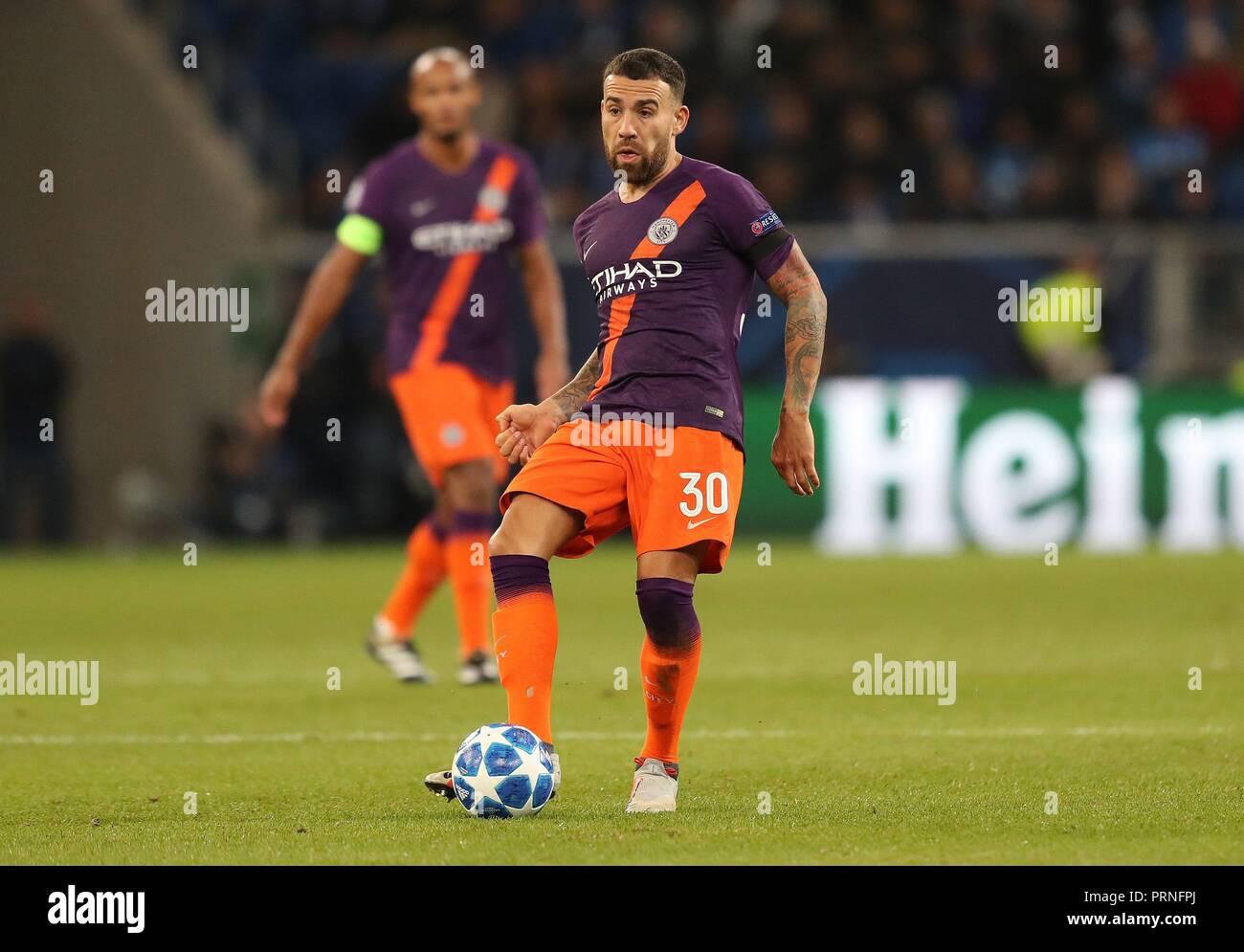 firo: 02.10.2018 Football, Football, Champions League: TSG Hoffenheim - Manchester City 1: 2 single action, Nicolás Otamendi   usage worldwide - Stock Image