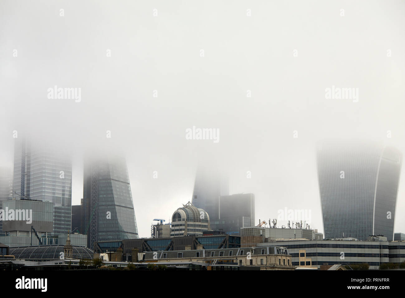 London, UK. 4th October, 2018. A blanket of fog that obscures the skyline of the city of London. Credit: Kevin Frost/Alamy Live News Stock Photo