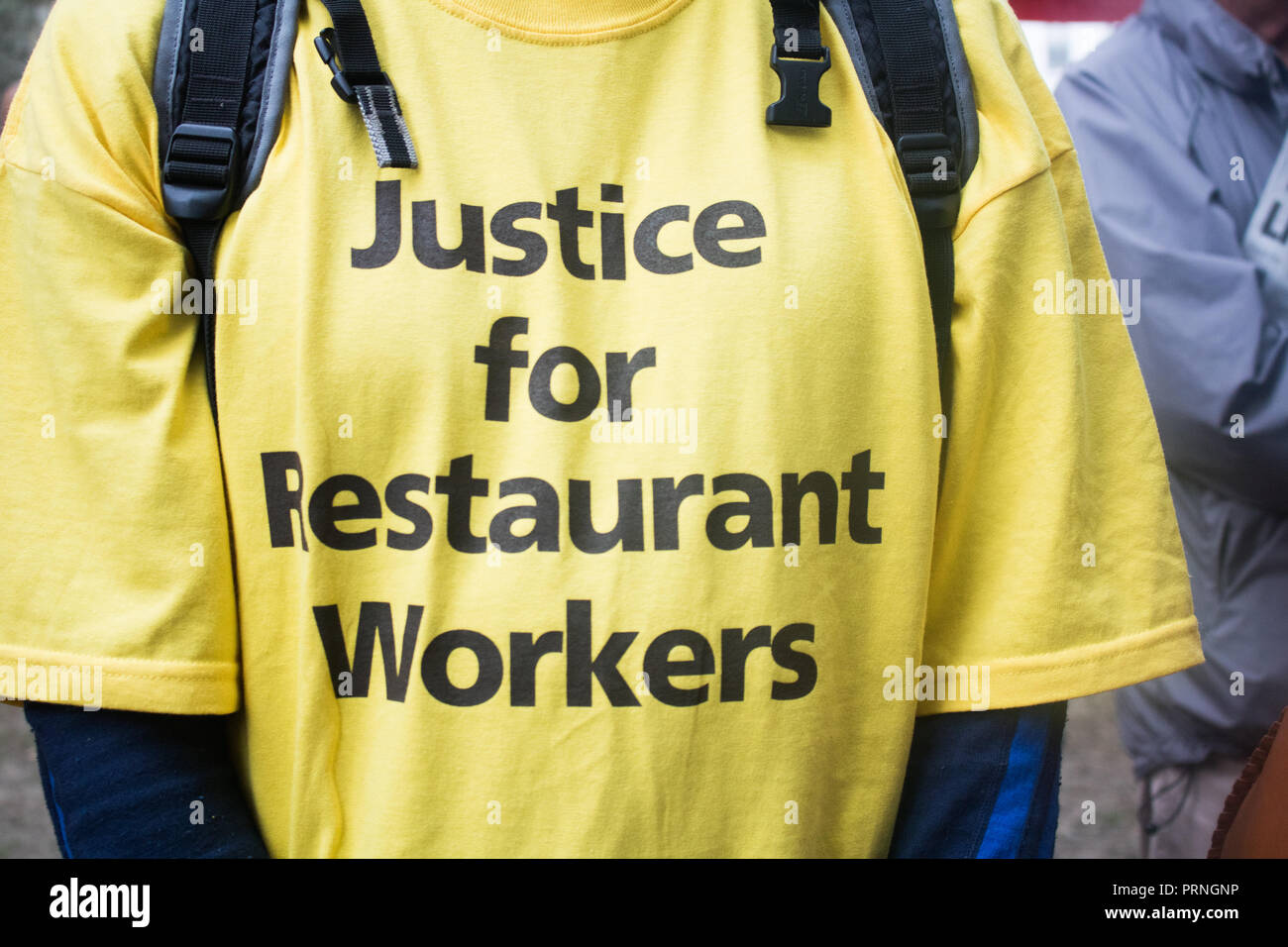London UK 4th October 2018. Staff Workers from McDonald's, JD Wetherspoon and TGI Fridays and UberEats  organized by Unite Union  took part in a walkout strike in Leicester Square  to  campaign for higher wages and to be paid  £10 an hour and an end to Zero Hour contracts Credit: amer ghazzal/Alamy Live News - Stock Image