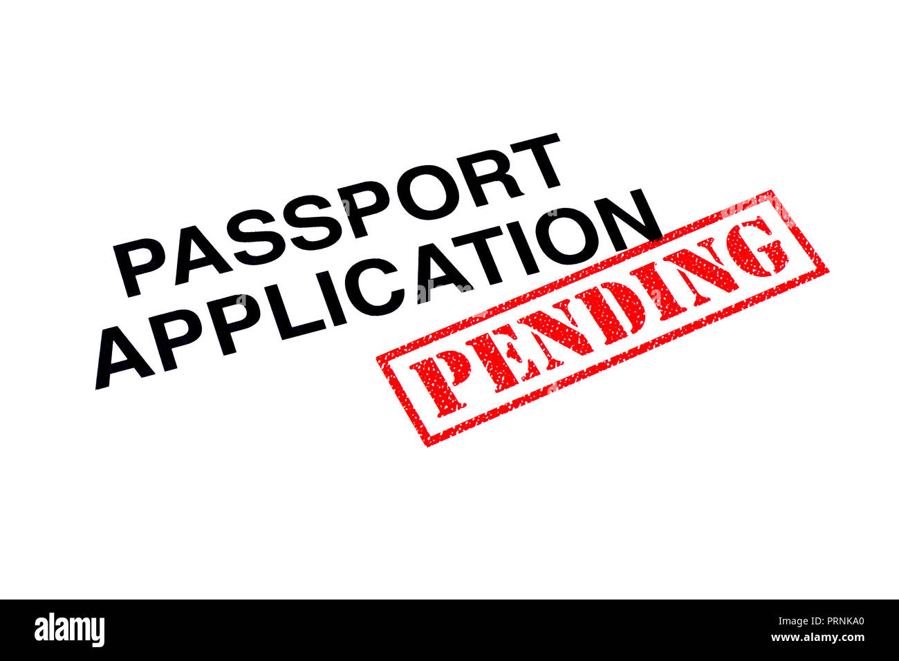 Passport Application heading stamped with a red PENDING rubber stamp. Stock Photo