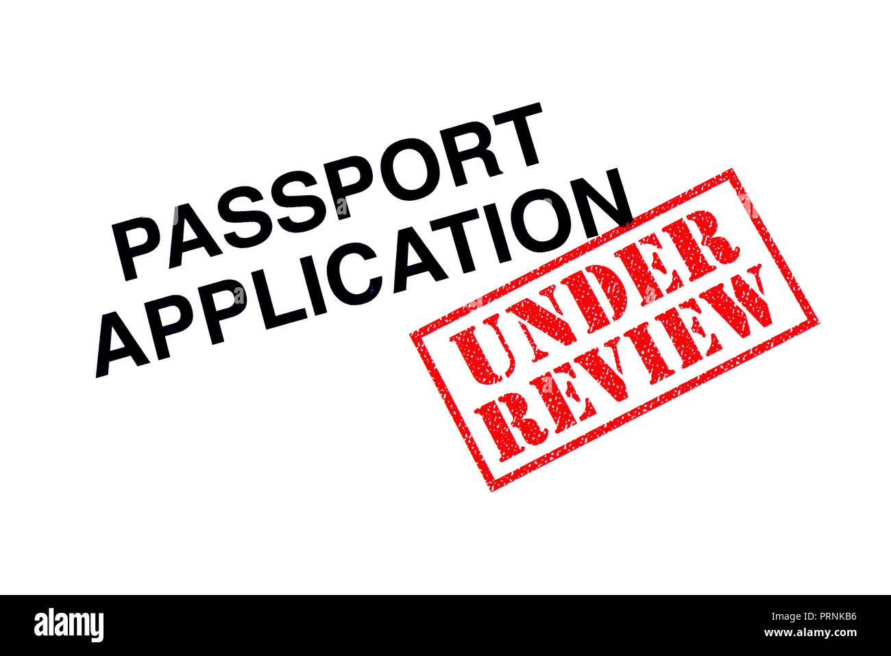 Passport Application heading stamped with a red UNDER REVIEW rubber