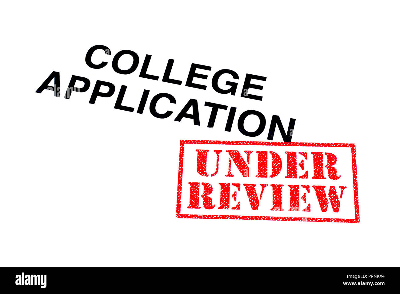 College Application heading stamped with a red UNDER REVIEW rubber