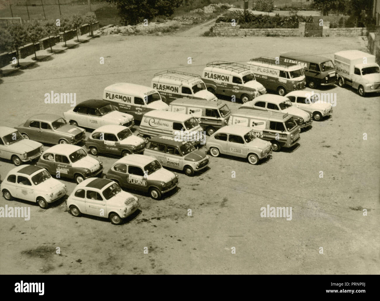 Parked cars advertising Plasmon products, Italy 1960s - Stock Image