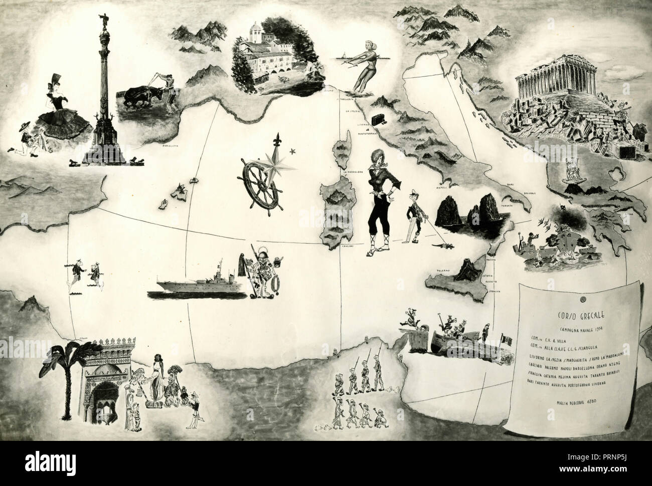Italian Navy ship Grecale Naval campaign 1954 representation - Stock Image