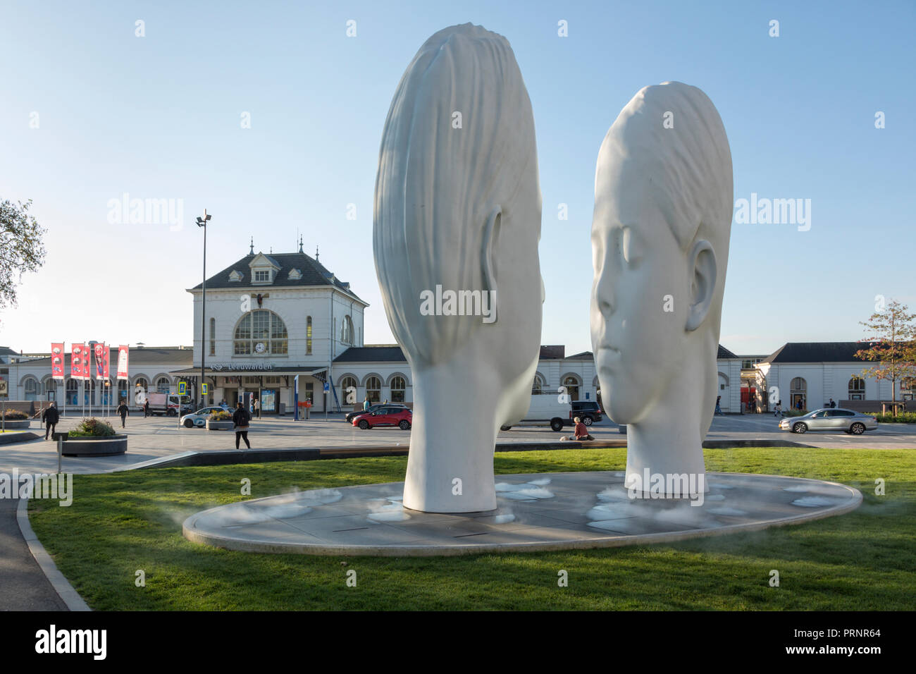 Leeuwarden, The Netherlands - September 18, 2018: 'Love' by Jaume Plensa. The fountain is one of eleven placed all over Fryslân province for the Europ - Stock Image