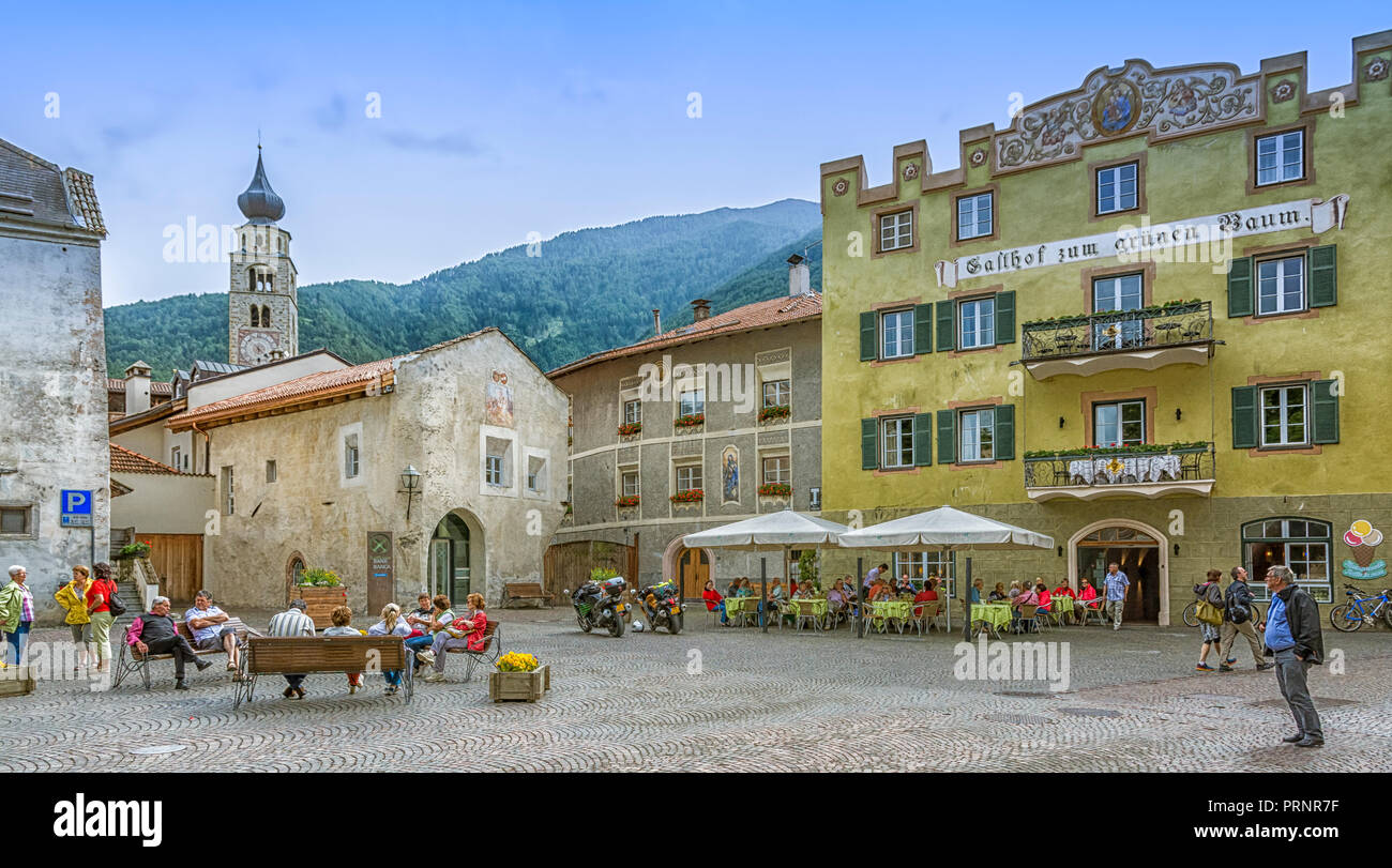 The historic town of Glorenza/Glurns in the south of Malles/Mals is one of the smallest cities in the world. Trentino Alto Adige/South Tyrol - Italy.  - Stock Image