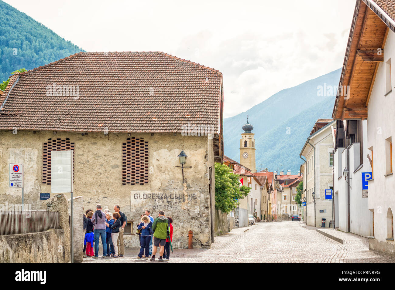 The historic town of Glorenza/Glurns in the south of Malles/Mals is one of the smallest cities in the world. Trentino Alto Adige/South Tyrol - Italy - Stock Image