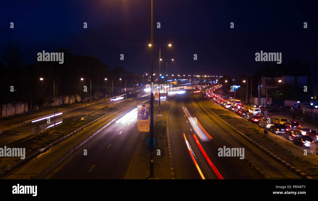 Beautiful Lagos ambience at night long exposure - Stock Image
