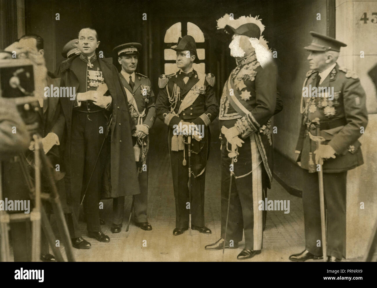 Unidentified King and high military authorities, 1930s - Stock Image
