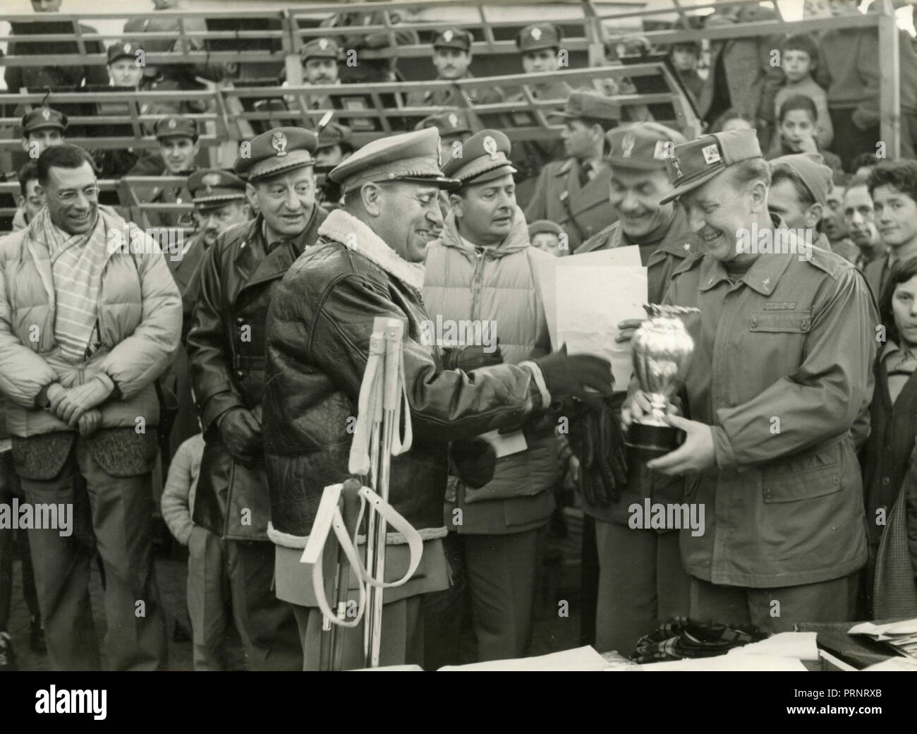 Finance police at a sport competition, Italy 1950s - Stock Image