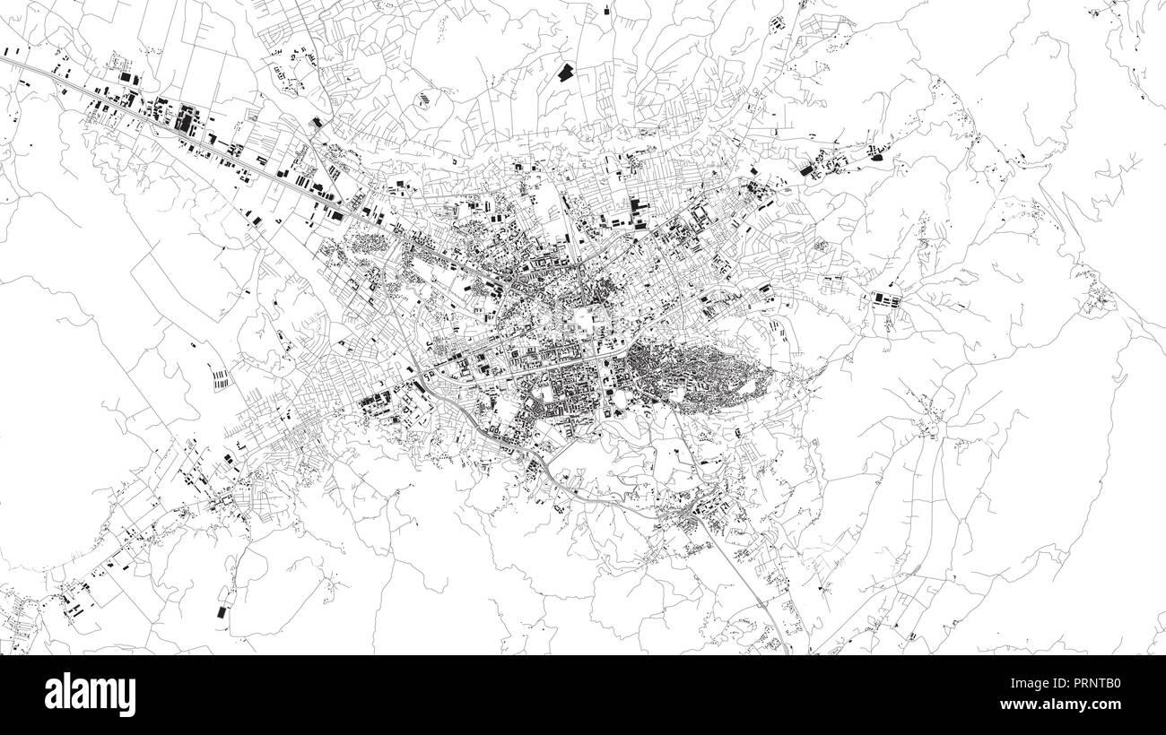 Satellite map of Tirana, Albania, city streets. Street map, city center - Stock Vector
