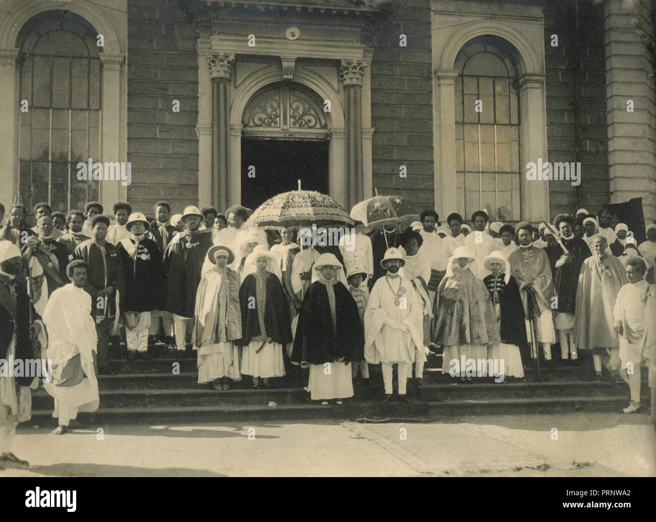 Negus Haile Selassie with dignitaries, Ethiopia 1930s - Stock Image