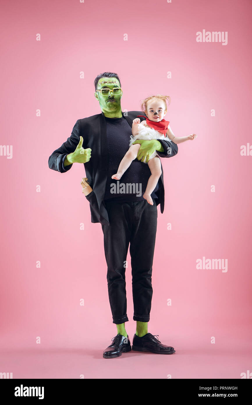 Halloween Family Happy Father And Children Newborn Girl In