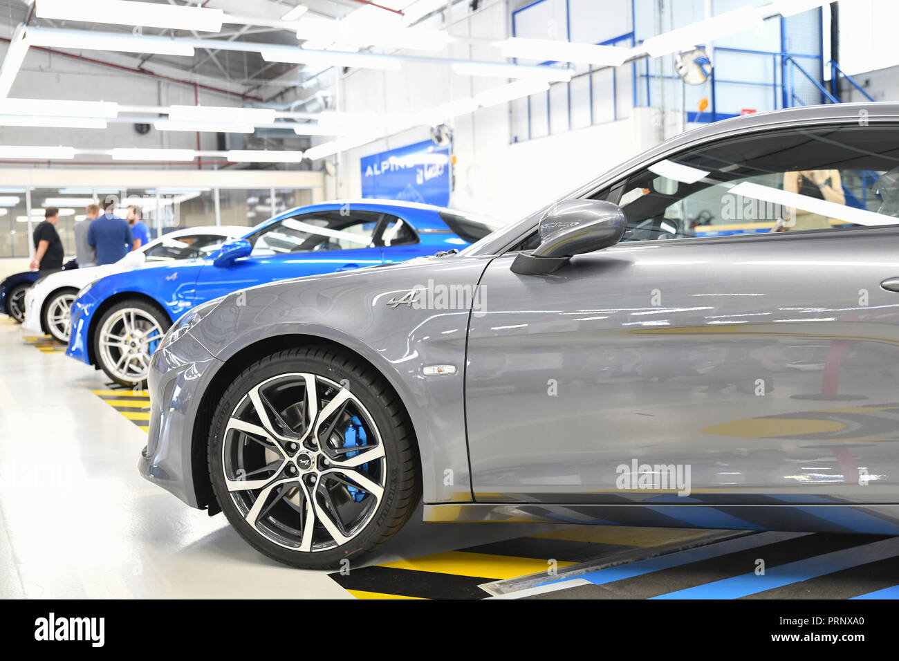 DIEPPE, FRANCE - JUNE 30, 2018: The new model of the sports car Alpine A110 is exhibited at the factory. Renault Alpine car - Stock Image