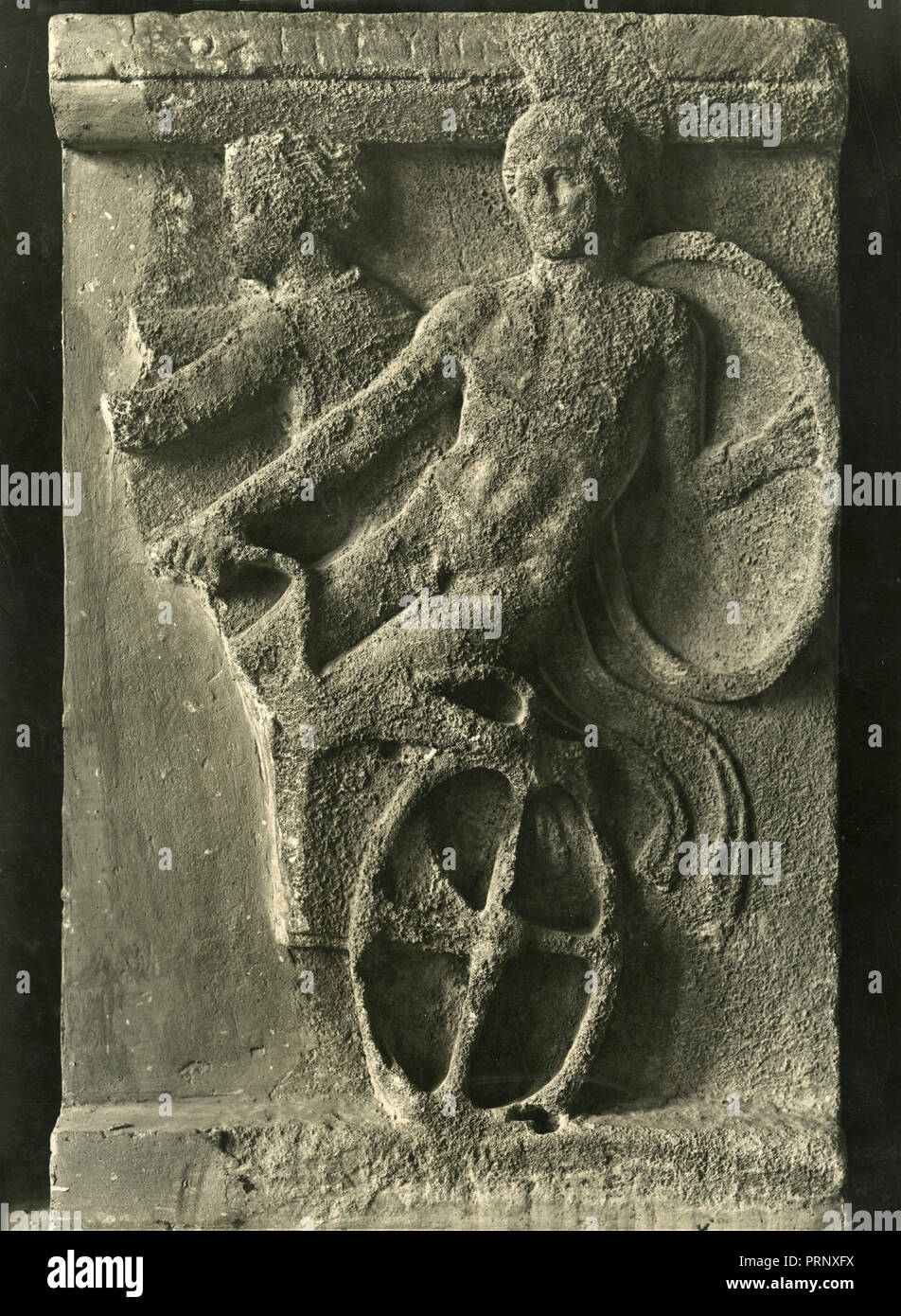 Young warrior, bas-relief, Greece 1930s - Stock Image