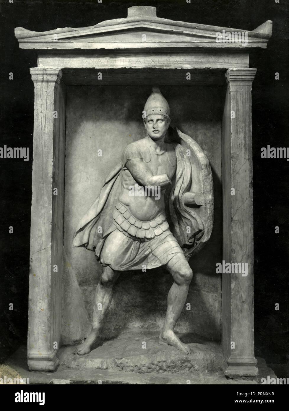 Funerary naiskos of Aristonautes, Athens, Greece 1930s - Stock Image