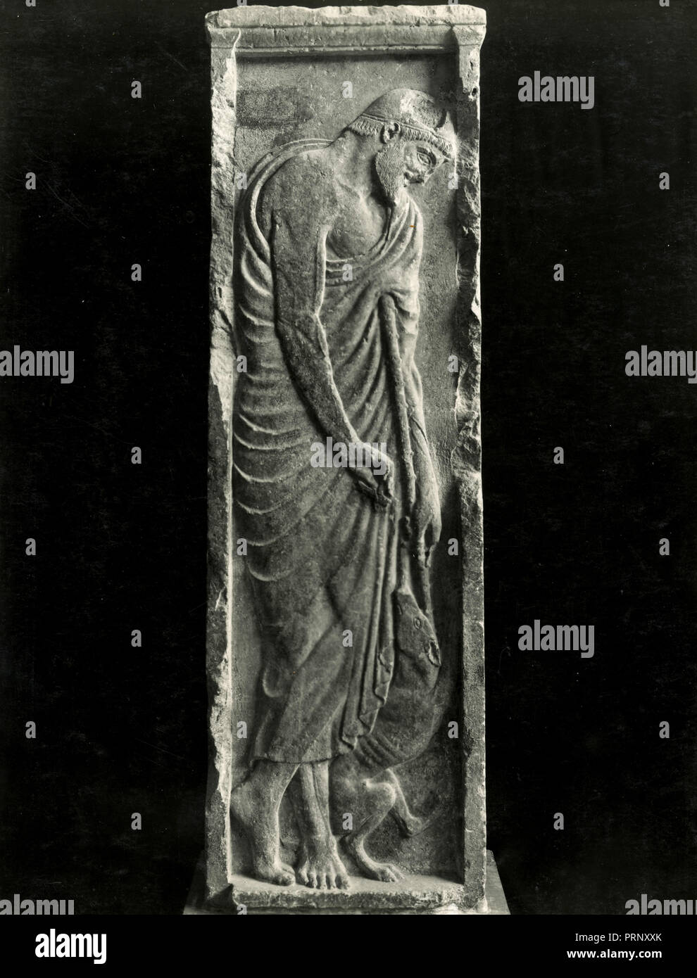 Funerary stele of Alxenor or Stele of Orchomenos, Greece 1930s - Stock Image