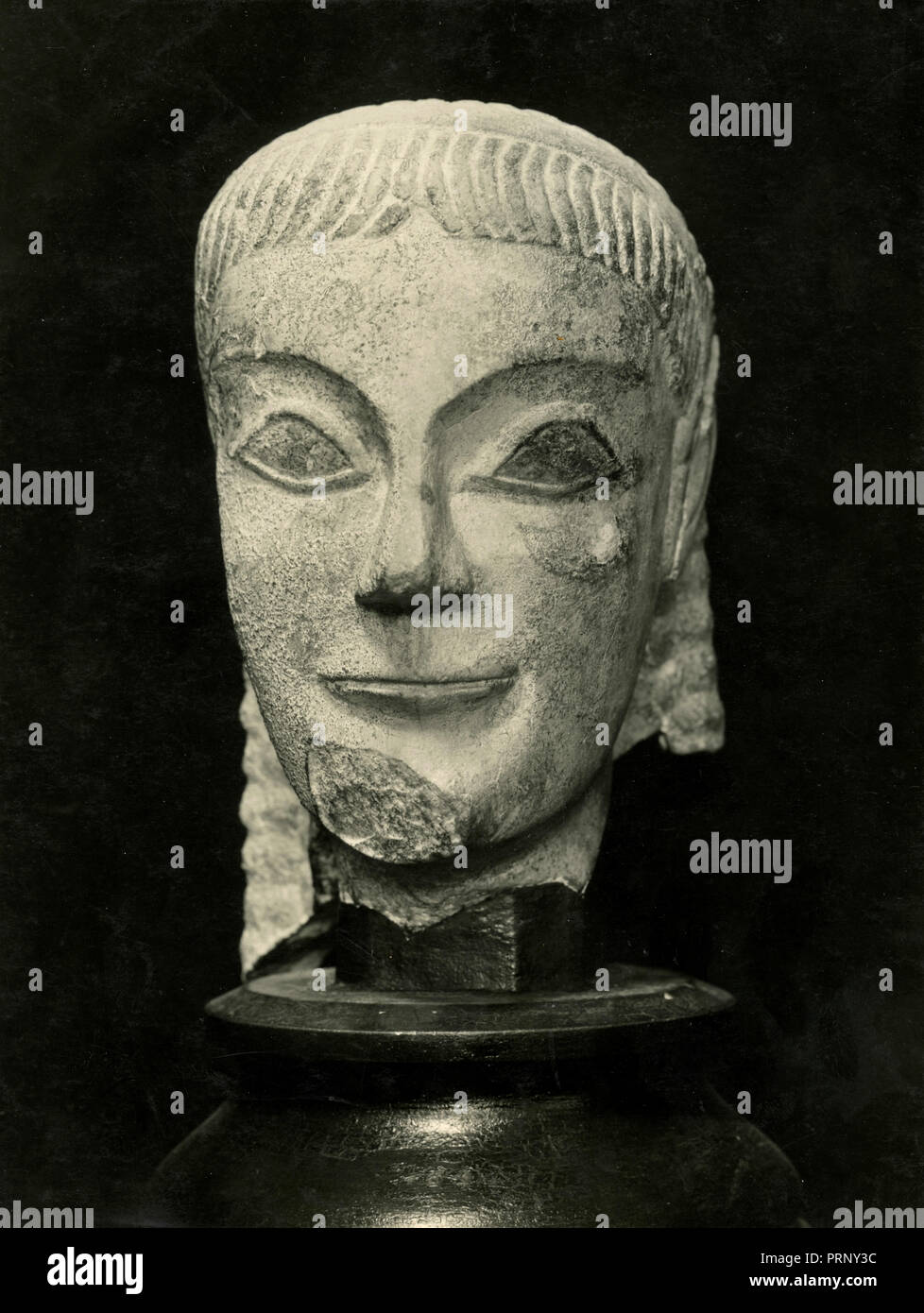 Archaic marble head, Greece 1930s - Stock Image