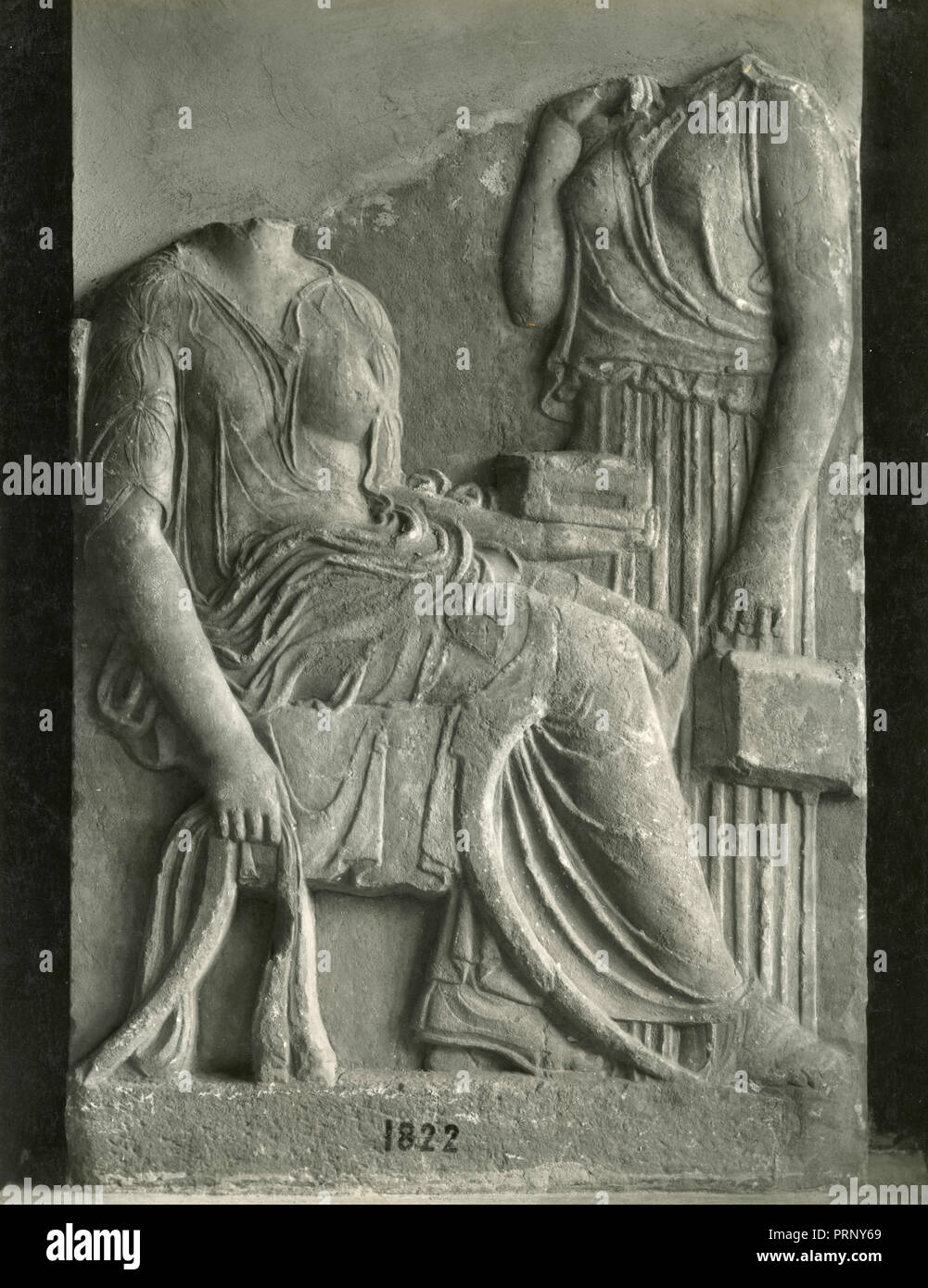 Funerary stele found in Athens, Greece 1930s - Stock Image
