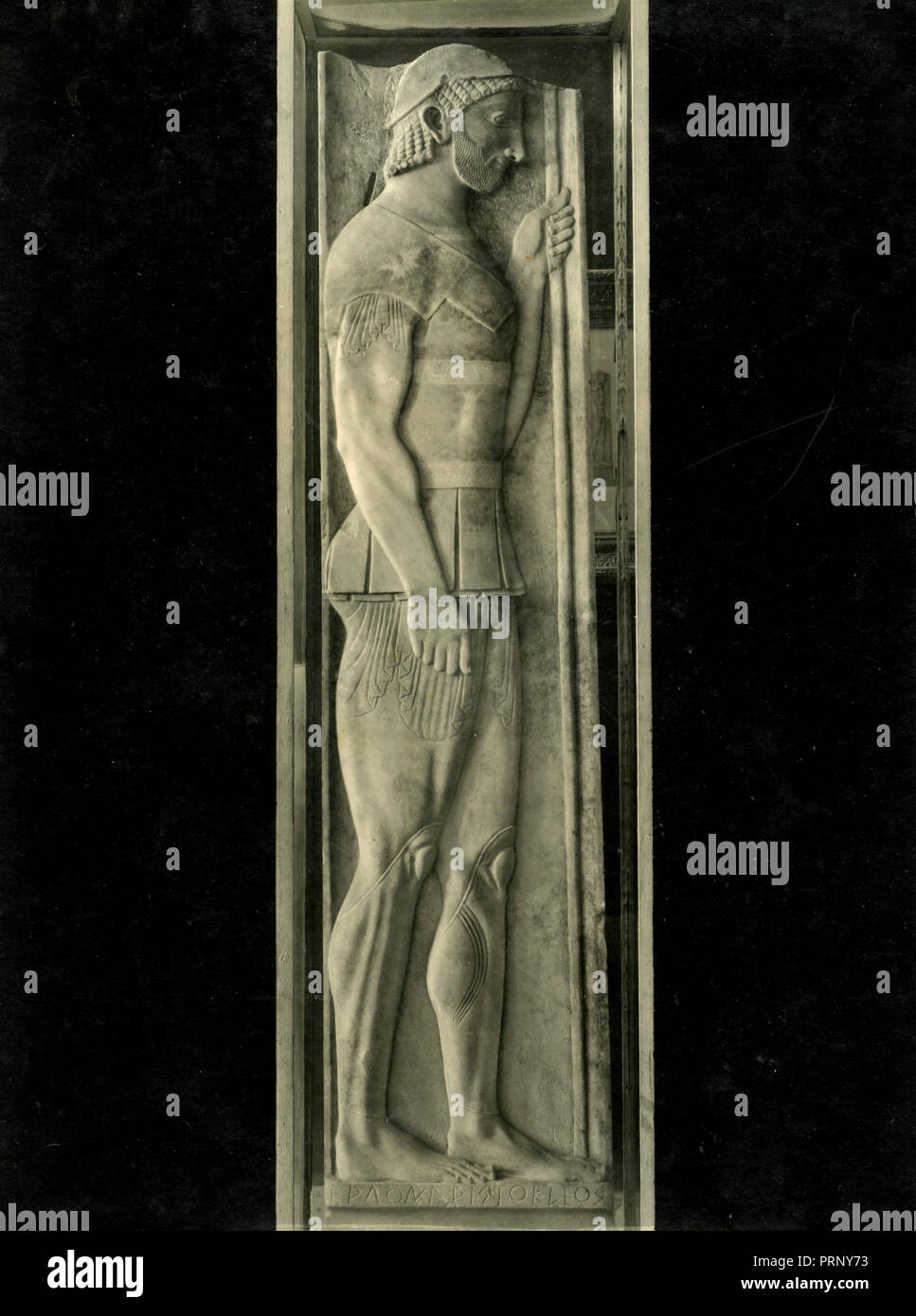 Funerary Stele of Aristion, Greece 1930s - Stock Image
