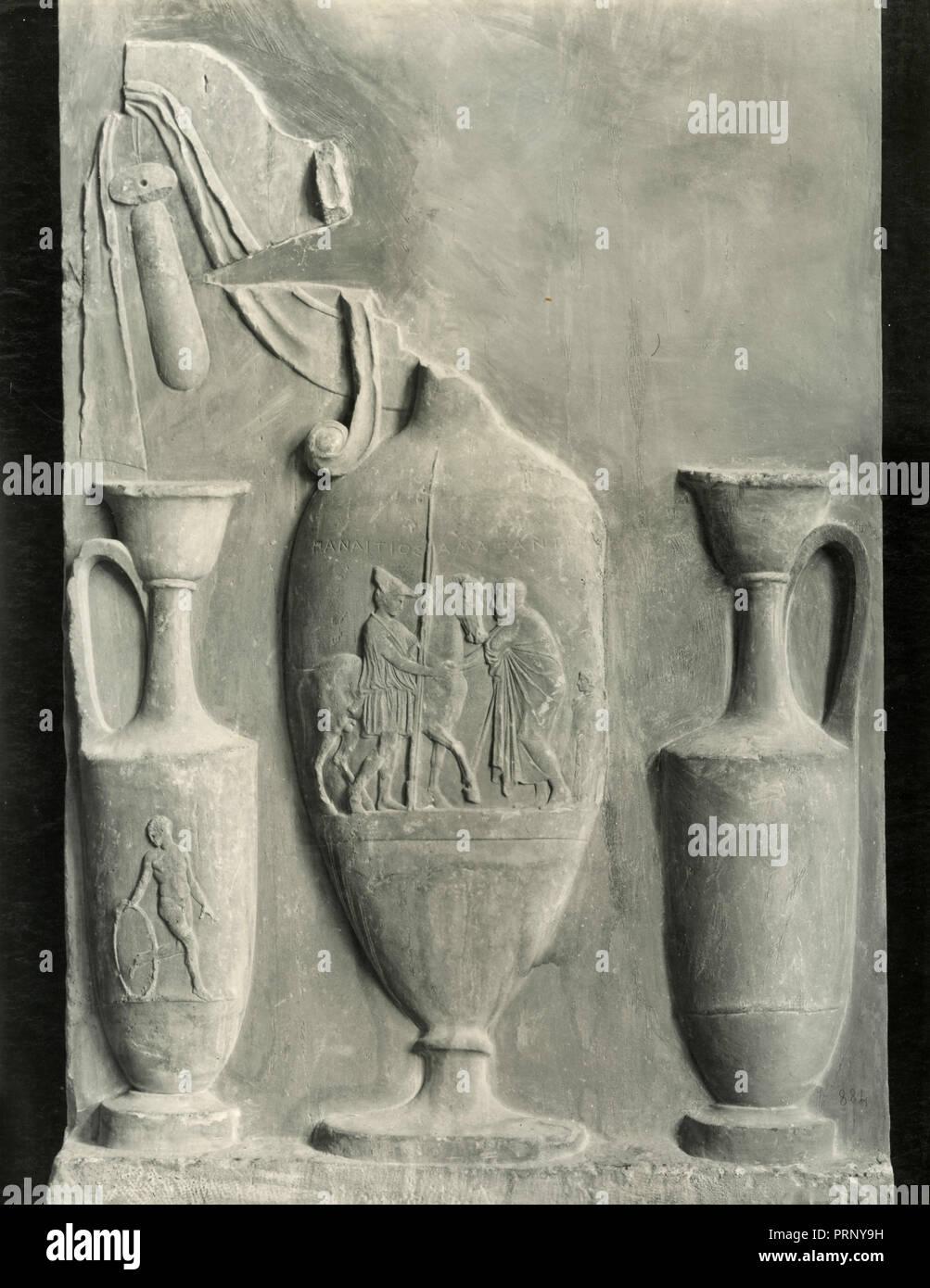 Panaitios funerary stele, Greece 1930s - Stock Image