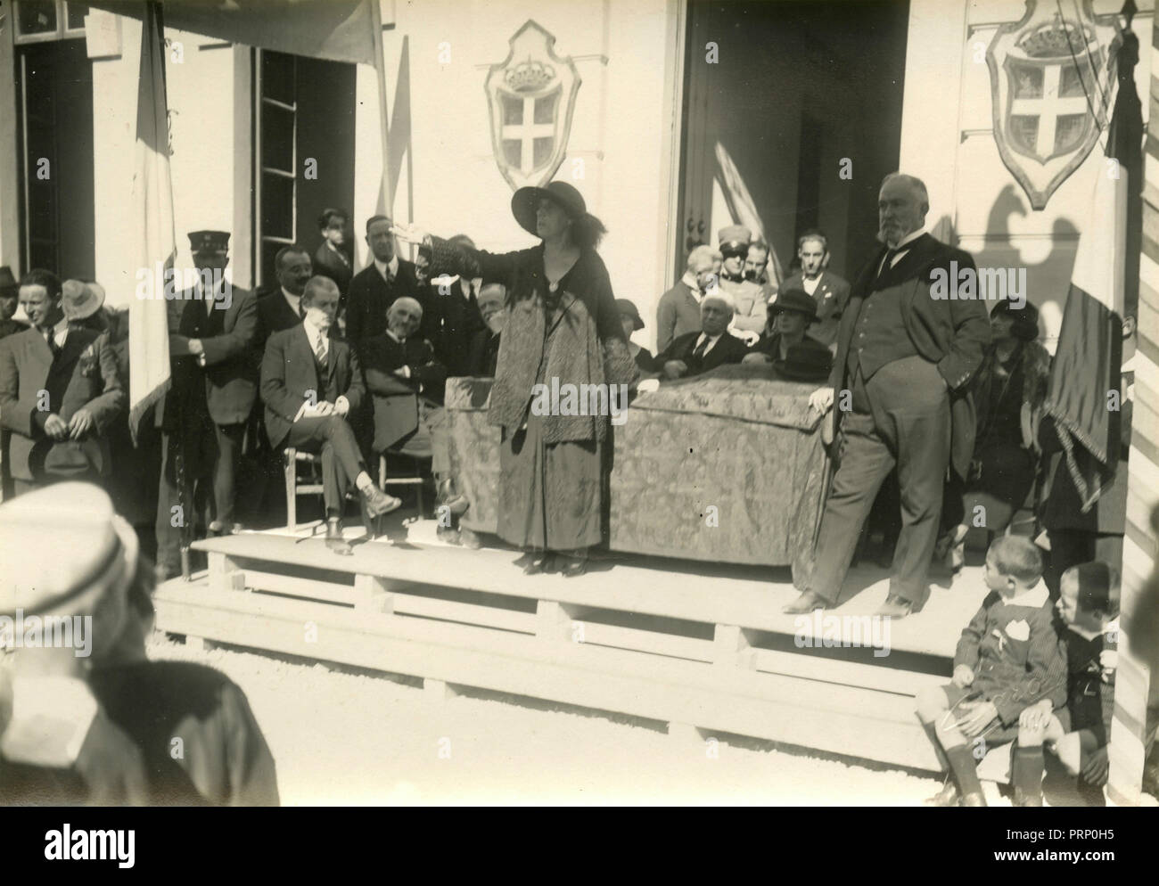 Elena of Montenegro Queen of Italy at a ceremony, Italy 1930s - Stock Image
