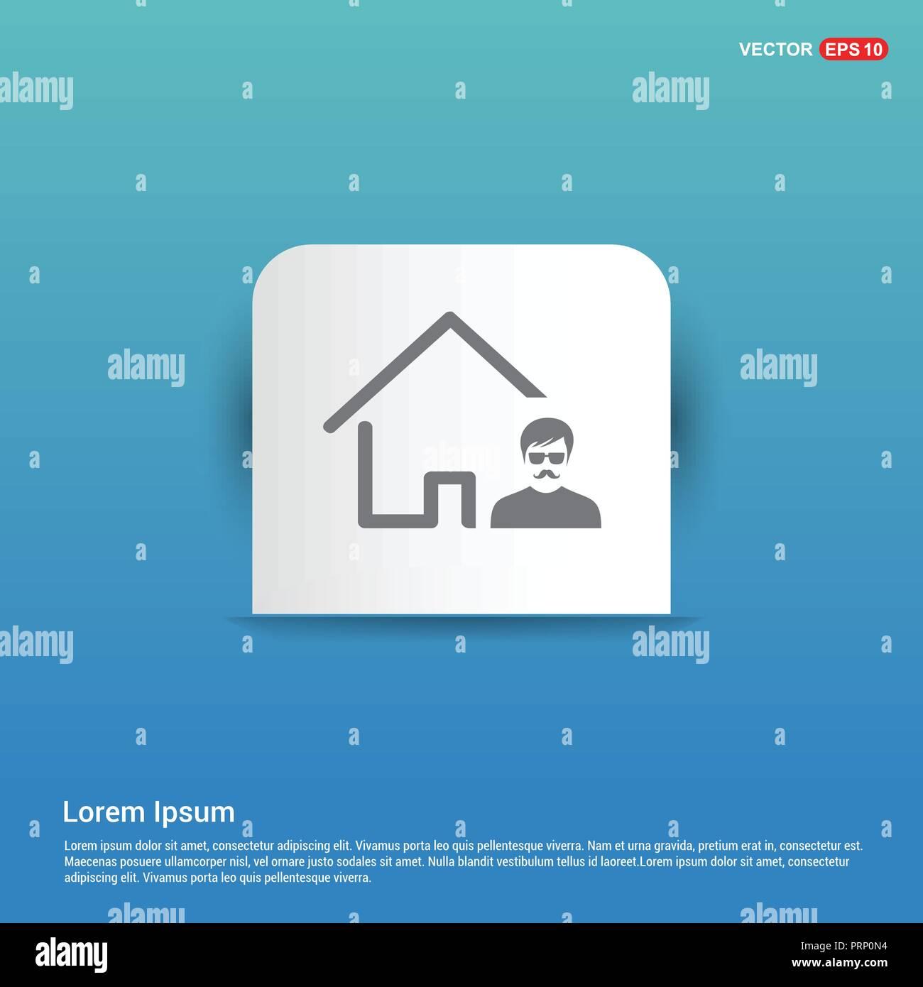 Real Estate Agent Icon - Blue Sticker button - Stock Image