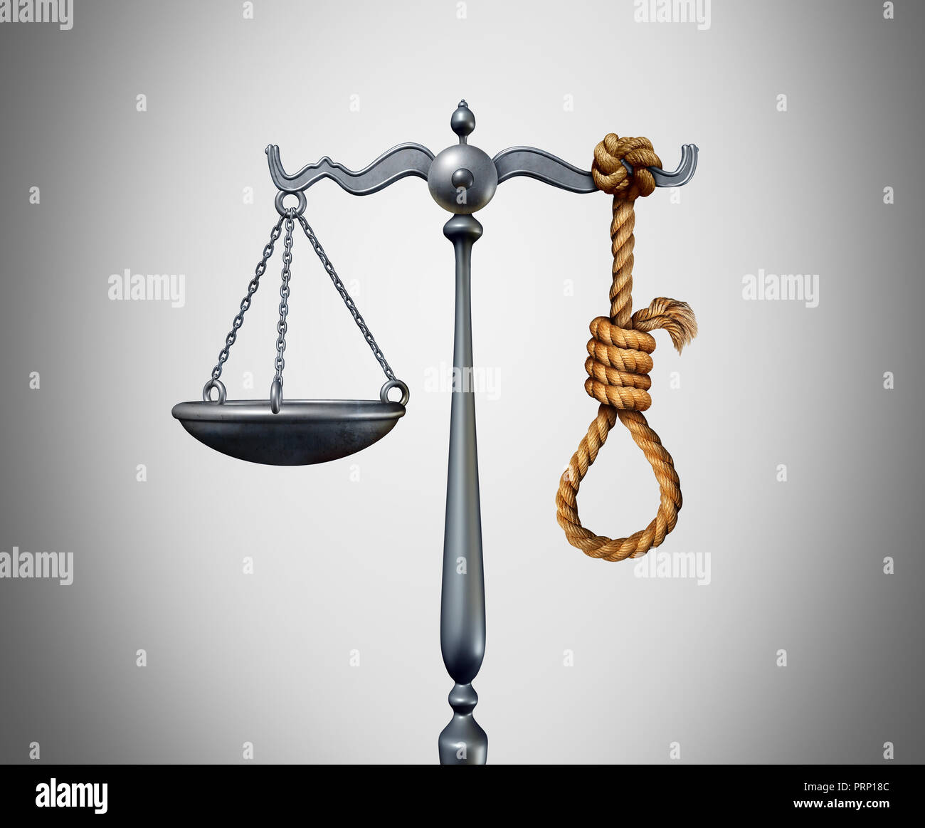 Capital punishment and death penalty as a criminal killed by the government for the crime of murder with 3D illustration elements. - Stock Image