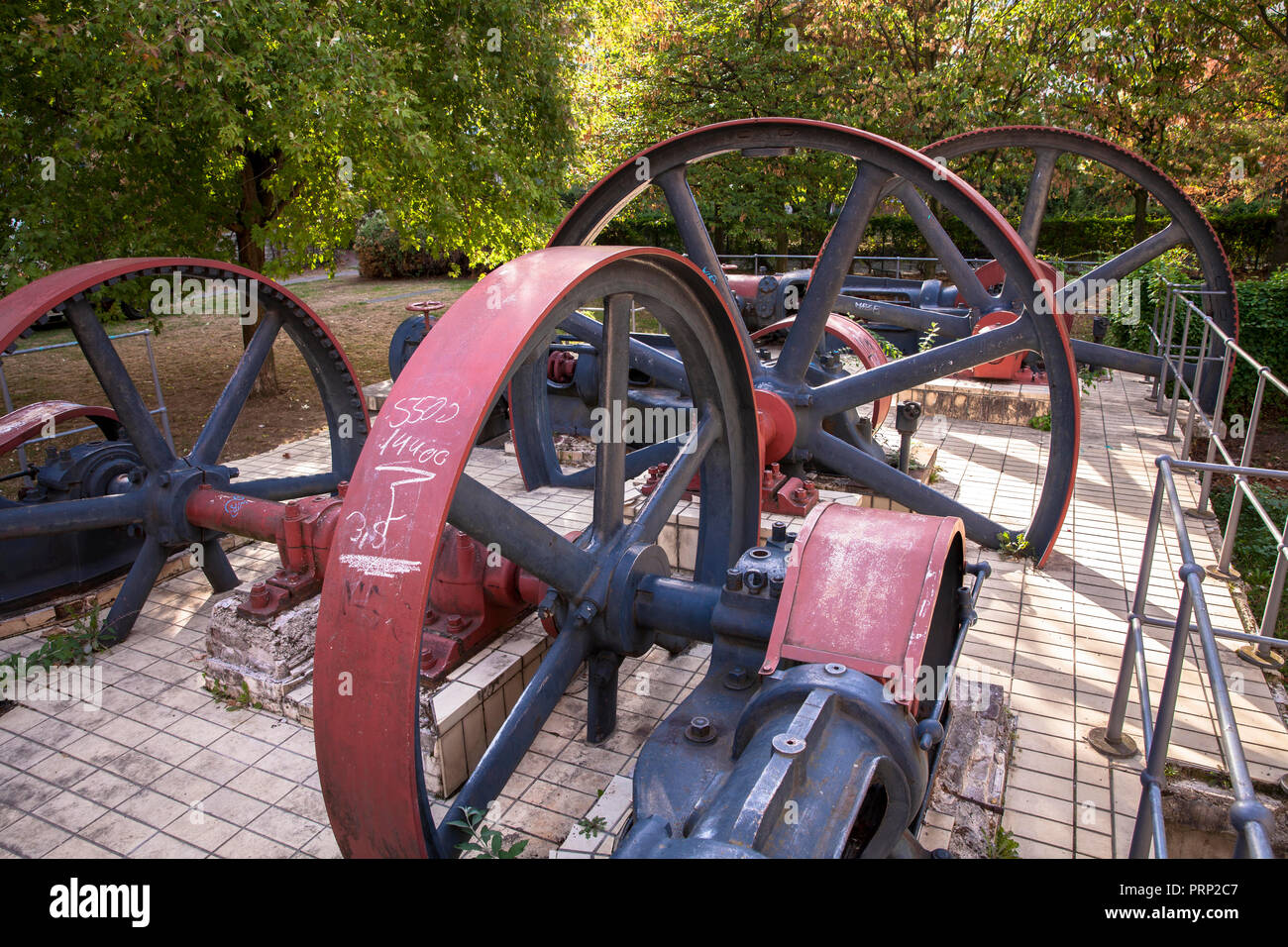 the flywheels of the refrigeration compressors of the former chocolate factory Stollwerck in the Suedstadt neighborhood, street Severinsmuehlengasse,  Stock Photo