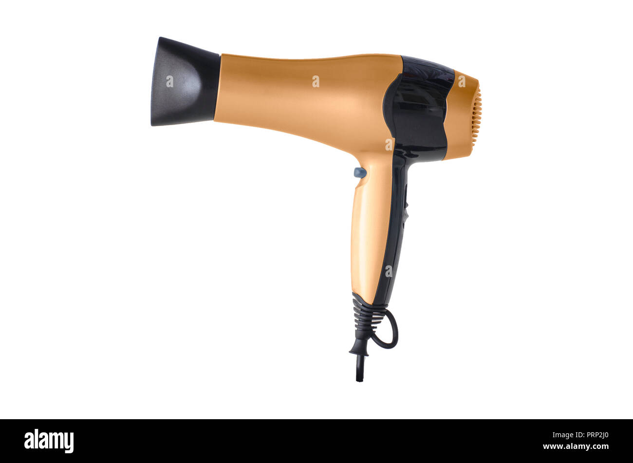 Hair blower drier orange isolated against plain white background - Stock Image