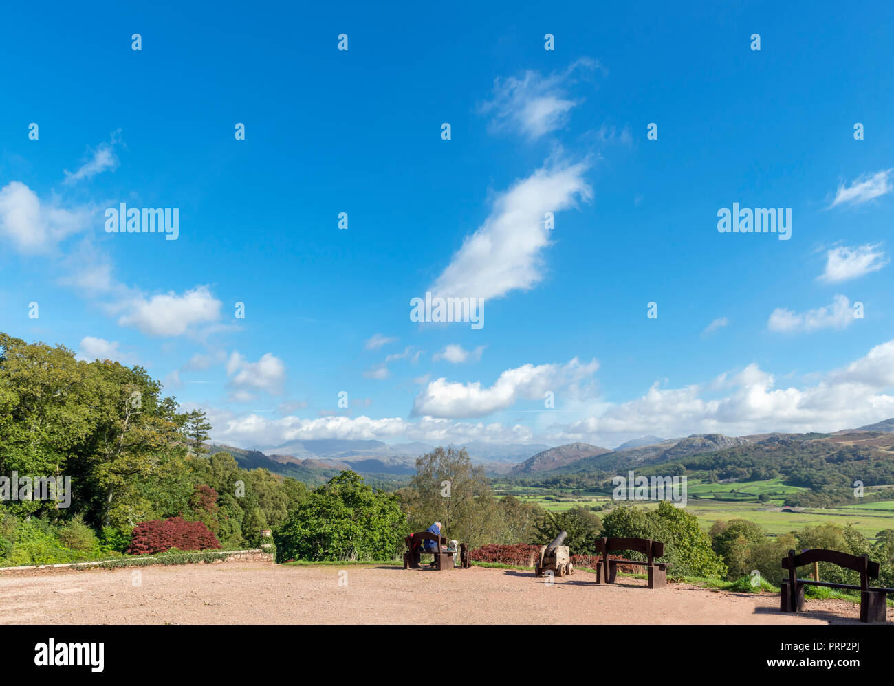 View down Eskdale from the grounds of Muncaster Castle, Ravenglass, Lake District National Park, Cumbria, UK Stock Photo
