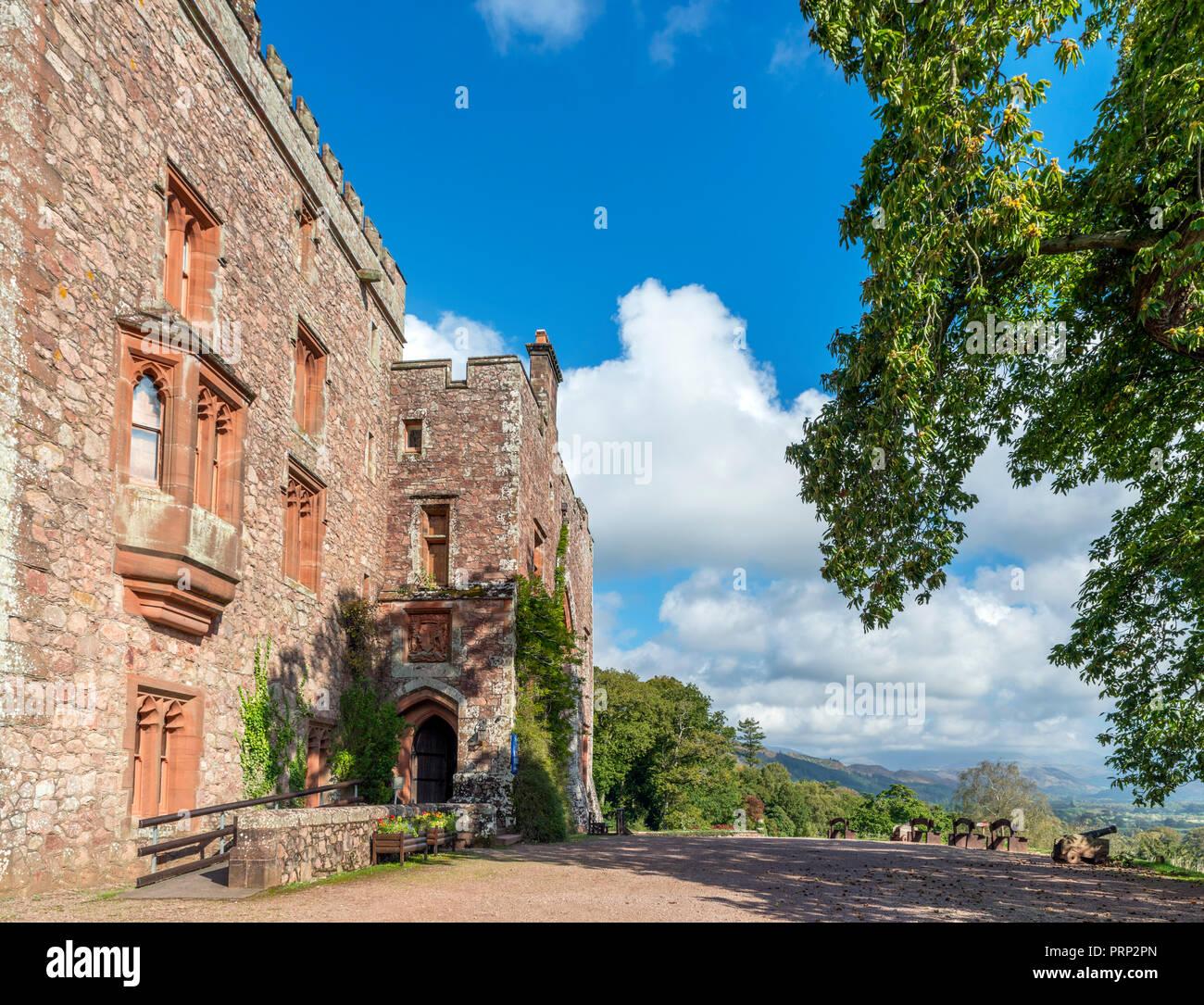 Front entrance of Muncaster Castle looking down Eskdale, Ravenglass, Lake District National Park, Cumbria, UK Stock Photo