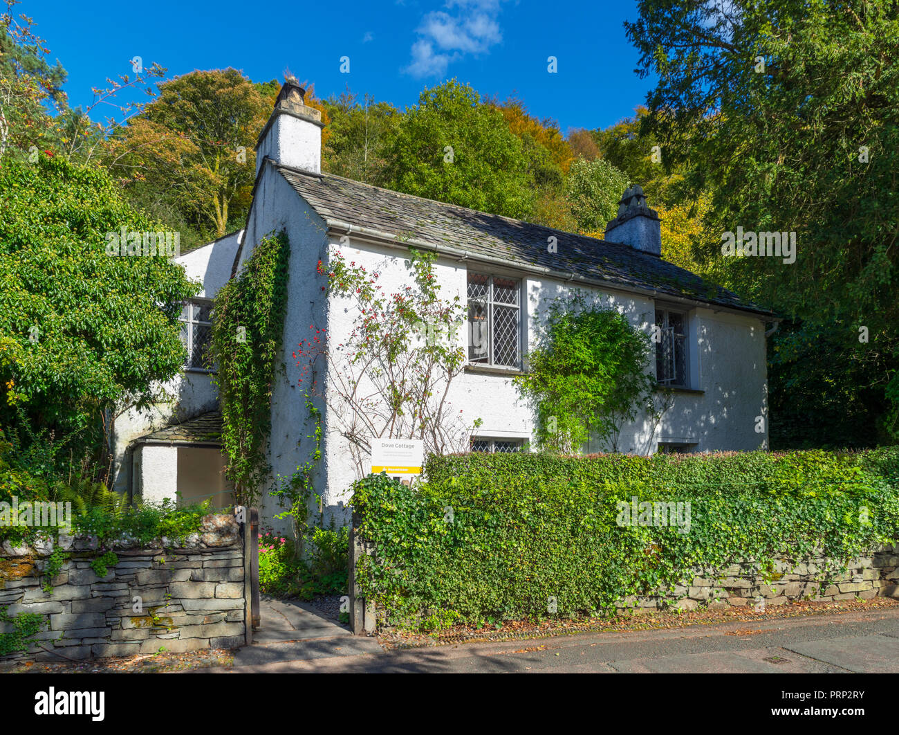 Dove Cottage, home of the poet William Wordsworth, Grasmere, Lake District National Park, Cumbria, UK - Stock Image