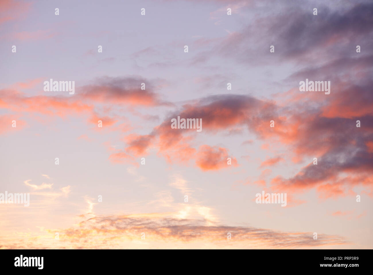 Sunset with warm fluffy clouds - purple pink orange sky - Stock Image