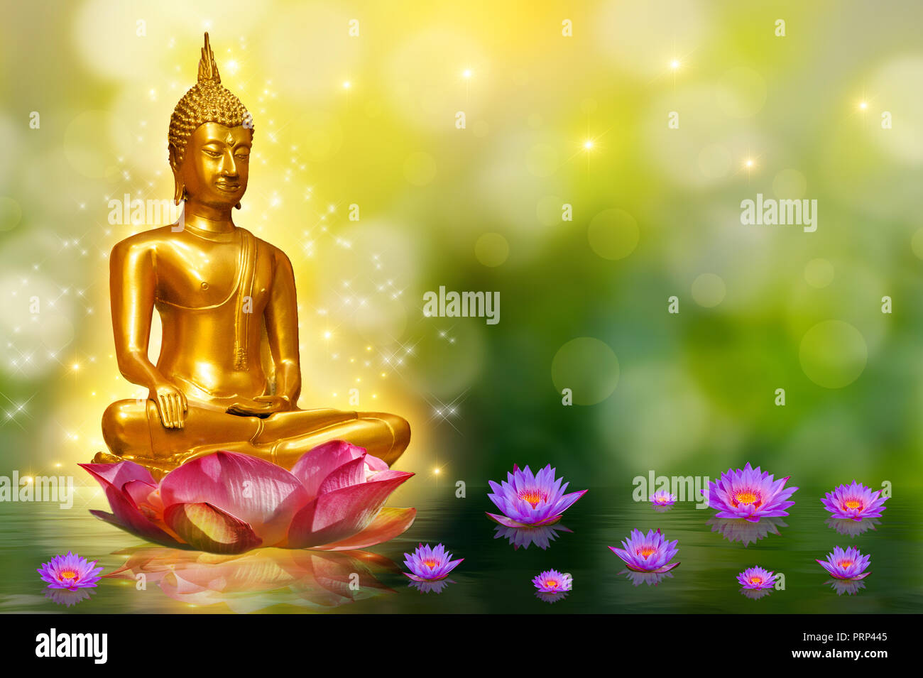 Buddha statue water lotus buddha standing on lotus flower on orange buddha statue water lotus buddha standing on lotus flower on orange background izmirmasajfo