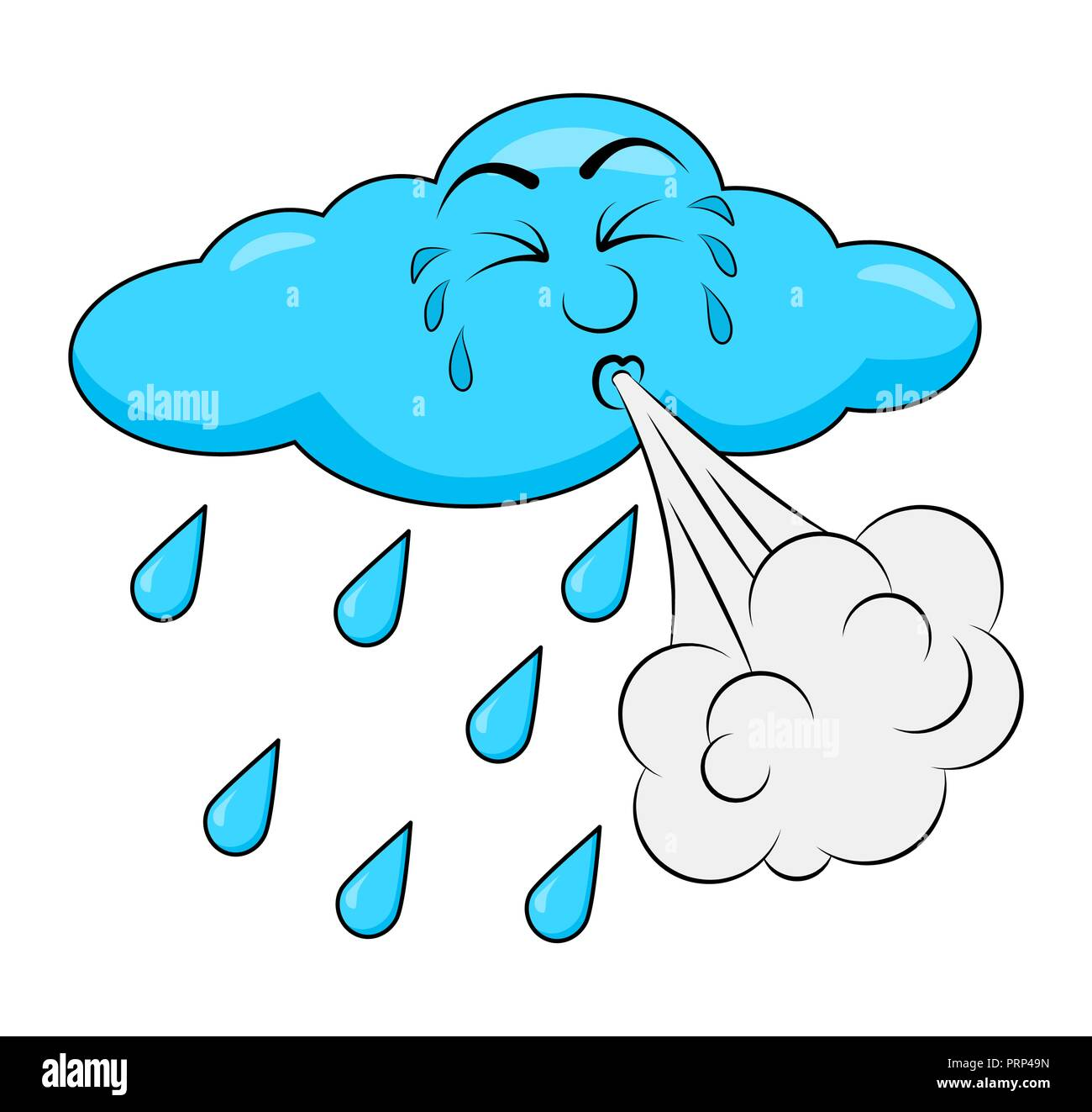 blowing cloud cartoon design isolated on white background - Stock Vector