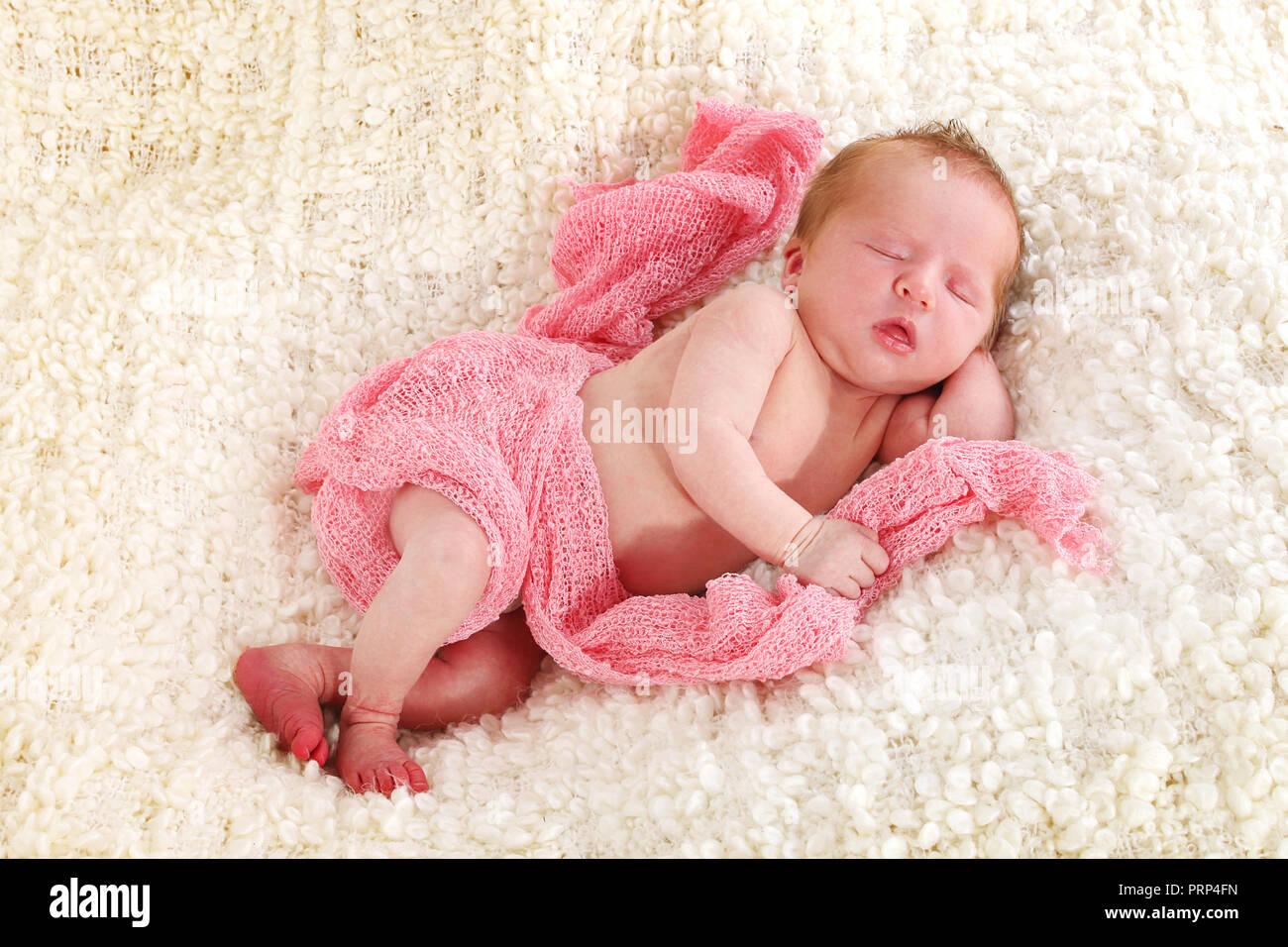 new born baby girl sleeping, 6 days old Stock Photo - Alamy