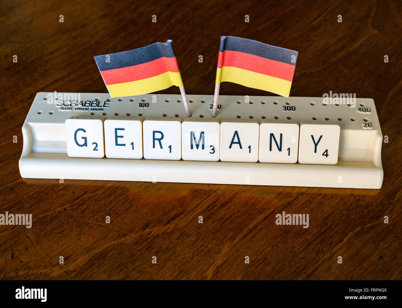 Scrabble letters spelling Germany in Scrabble tray with