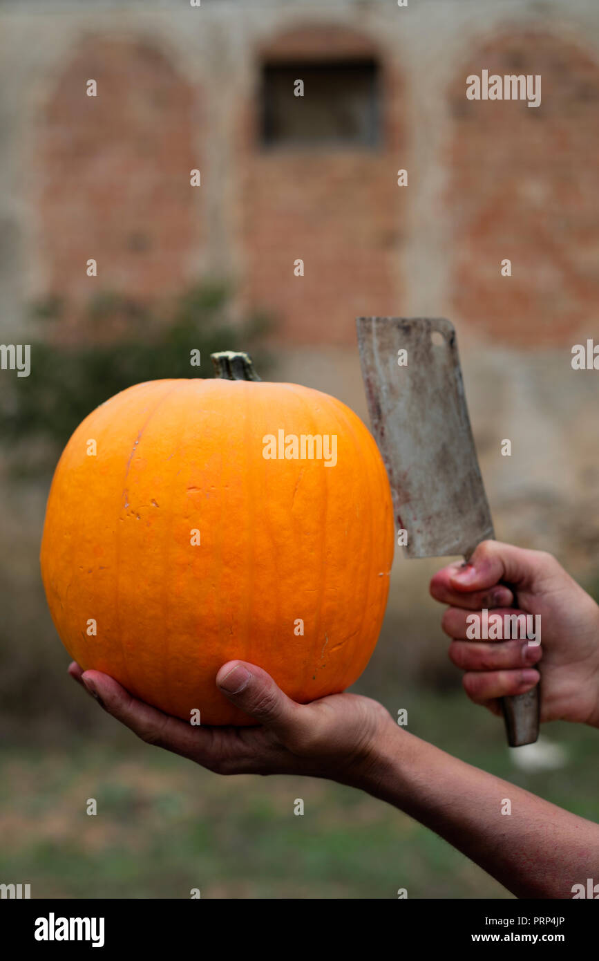 closeup of the bloody hands of a scary man, with a pumpkin in one hand and a rusty and bloody cleaver in the other hand, in front of an abandoned hous Stock Photo