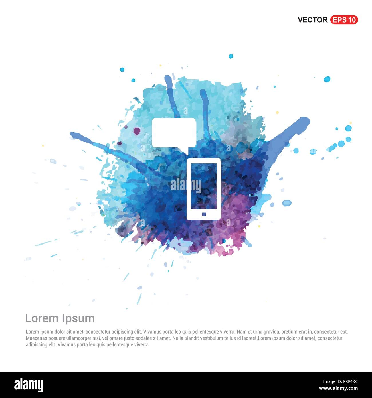 Phone with message icon - Watercolor Background - Stock Image
