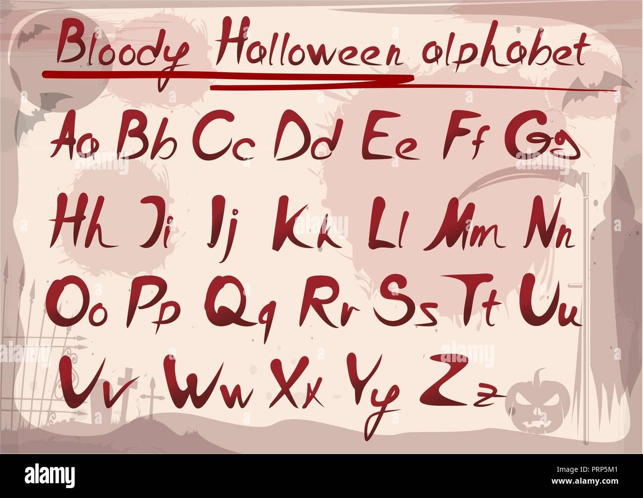 Bloody halloween alphabet on vintage grunge background. Vector font - Stock Vector