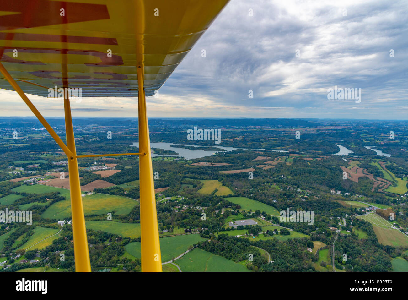 Aerial View from small plane cockpit, Pennsylvania, USA - Stock Image