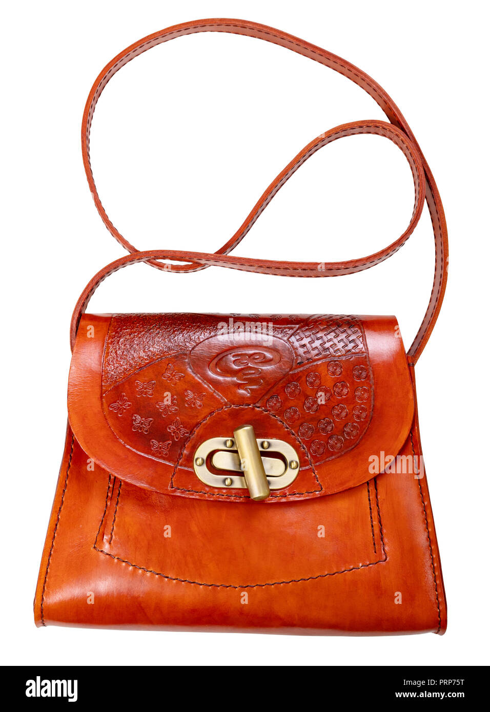 handmade orange colored embossed leather bag cut out on white background -  Stock Image 5d6cad2807da4