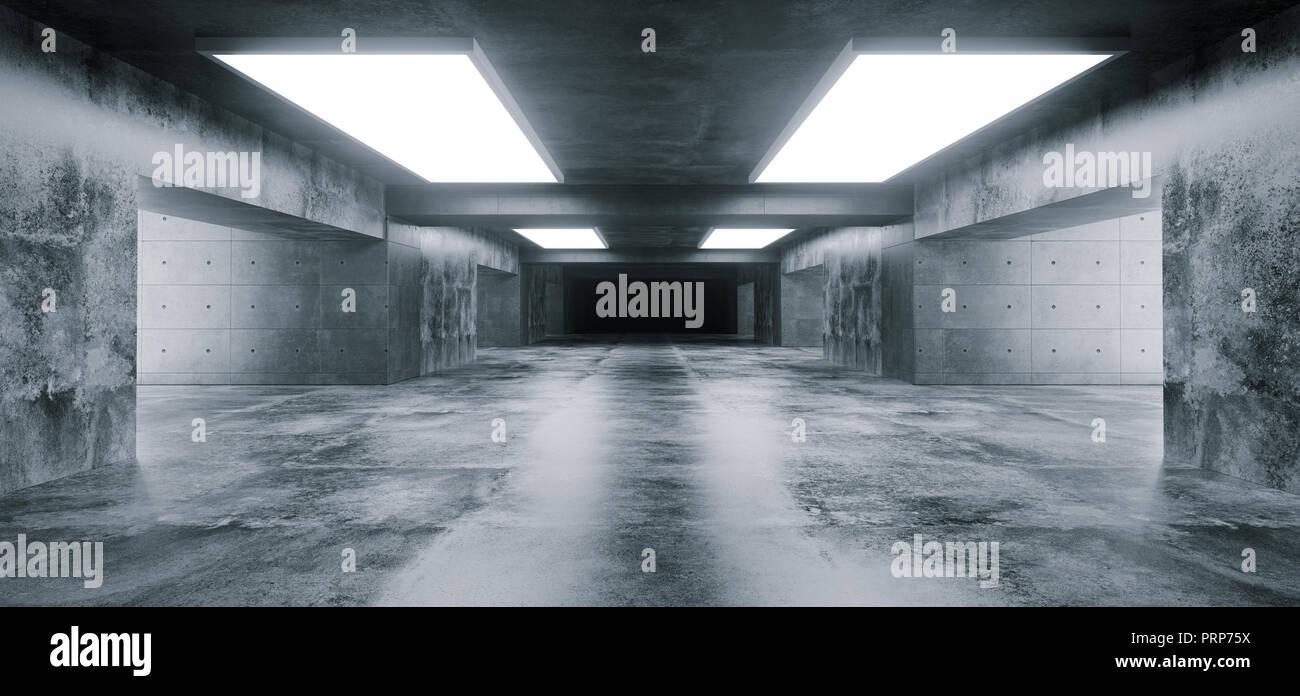 Empty Elegant Modern Grunge Dark Refletcions Concrete Underground