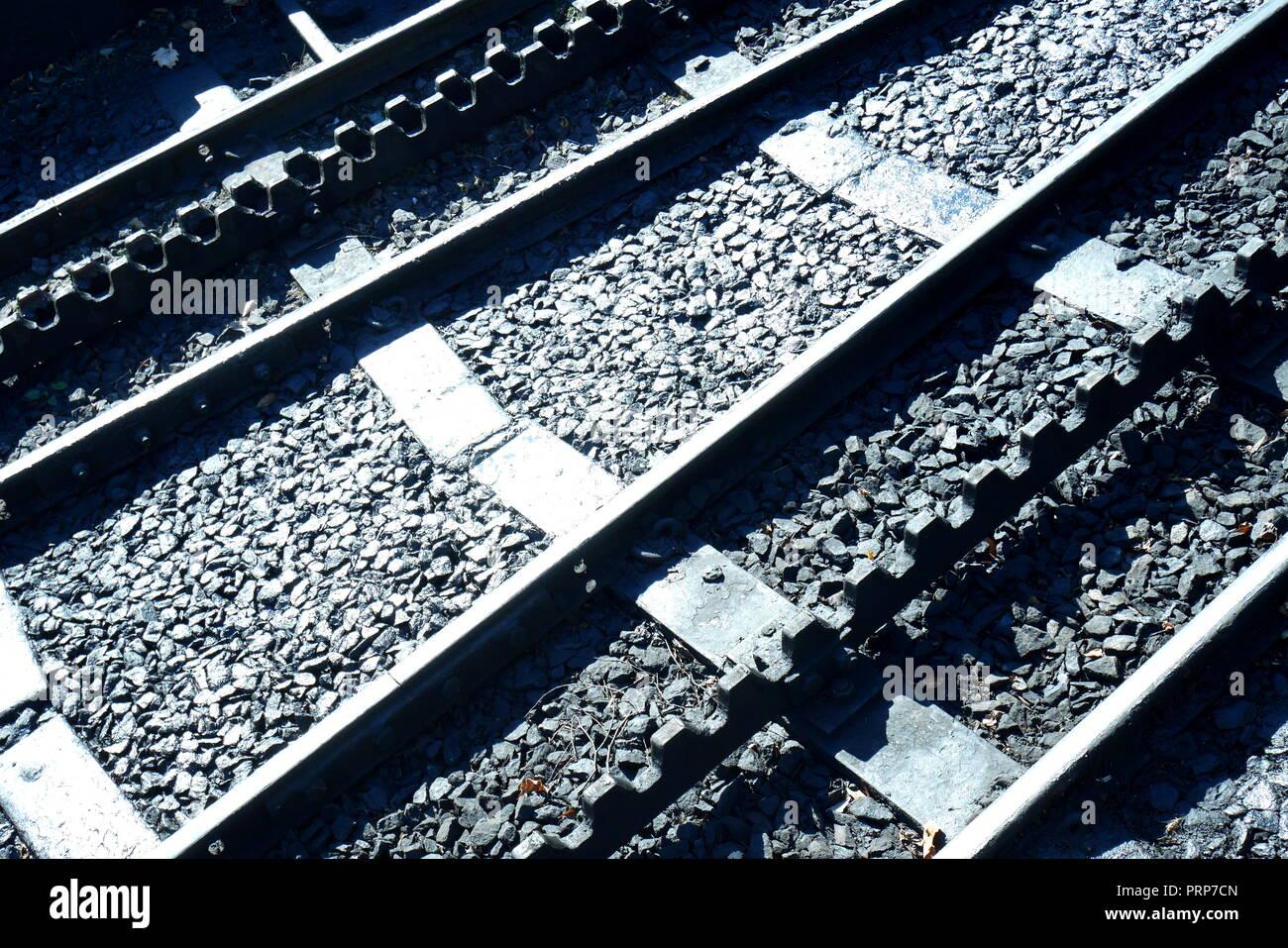 Railway tracks, Snowdon Mountain Railway, Llanberis, Gwynedd, North Wales, UK - Stock Image