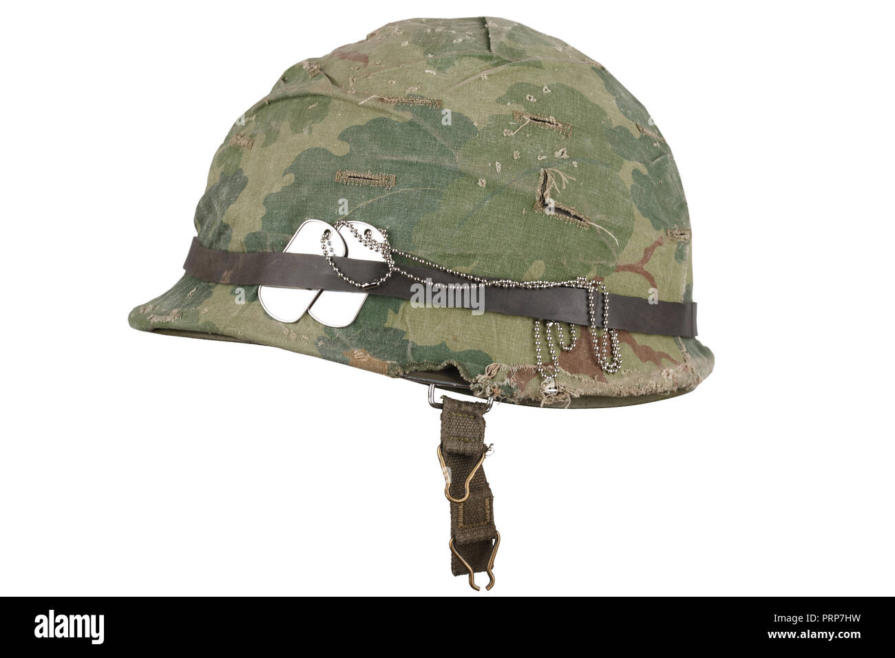 Us Army Helmet Vietnam War Period With Camouflage Cover Goggles And Dog Tags Isolated On White Stock Photo Alamy