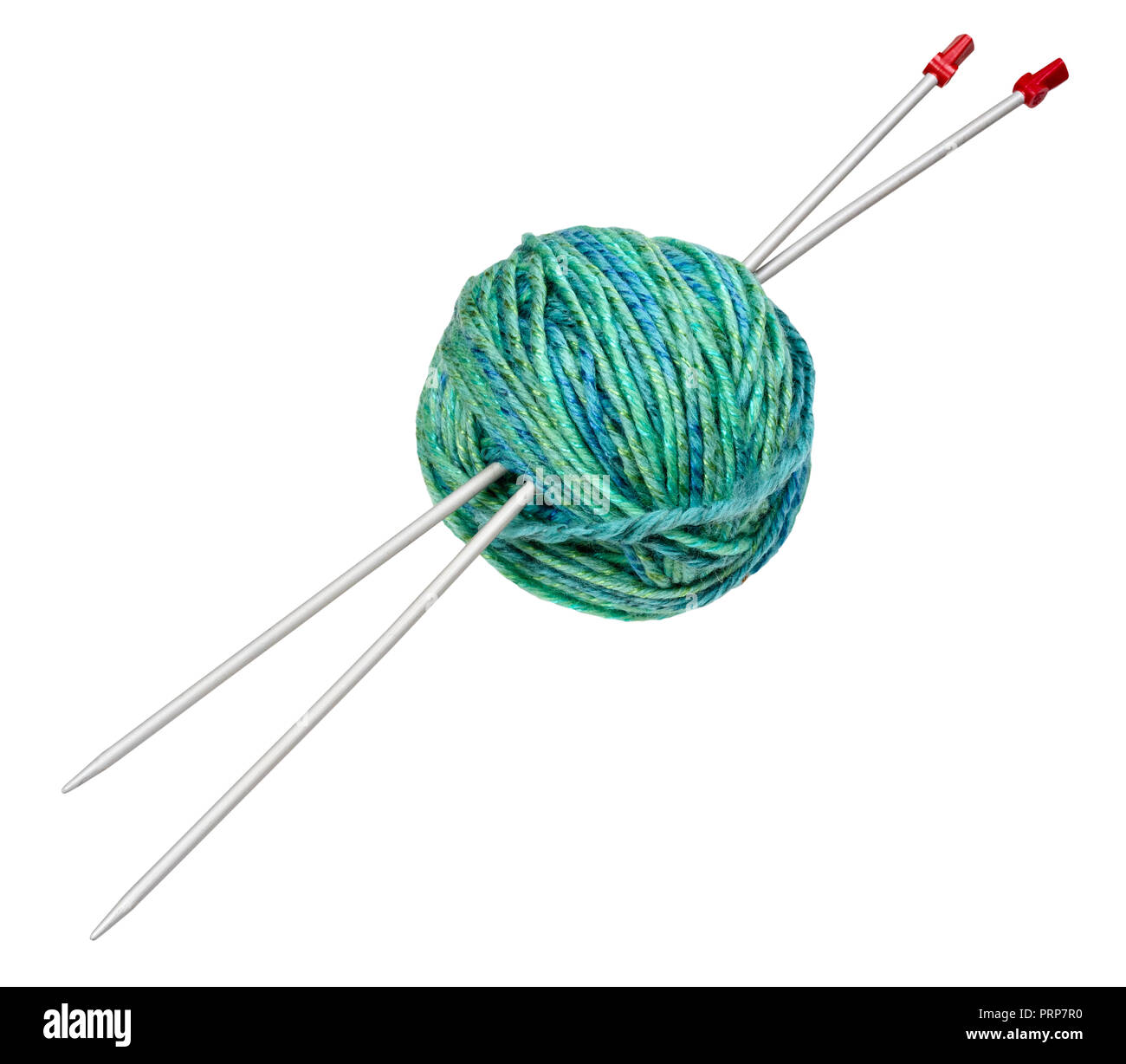 ball of green yarn with knitting needles cut out on white backgroubd - Stock Image