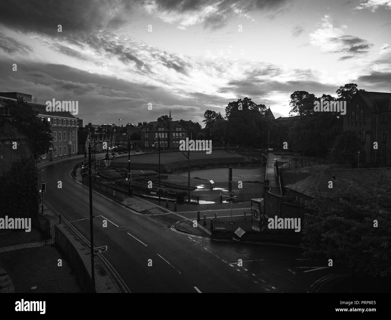 Tall view of city centre in the UK black and white - Stock Image