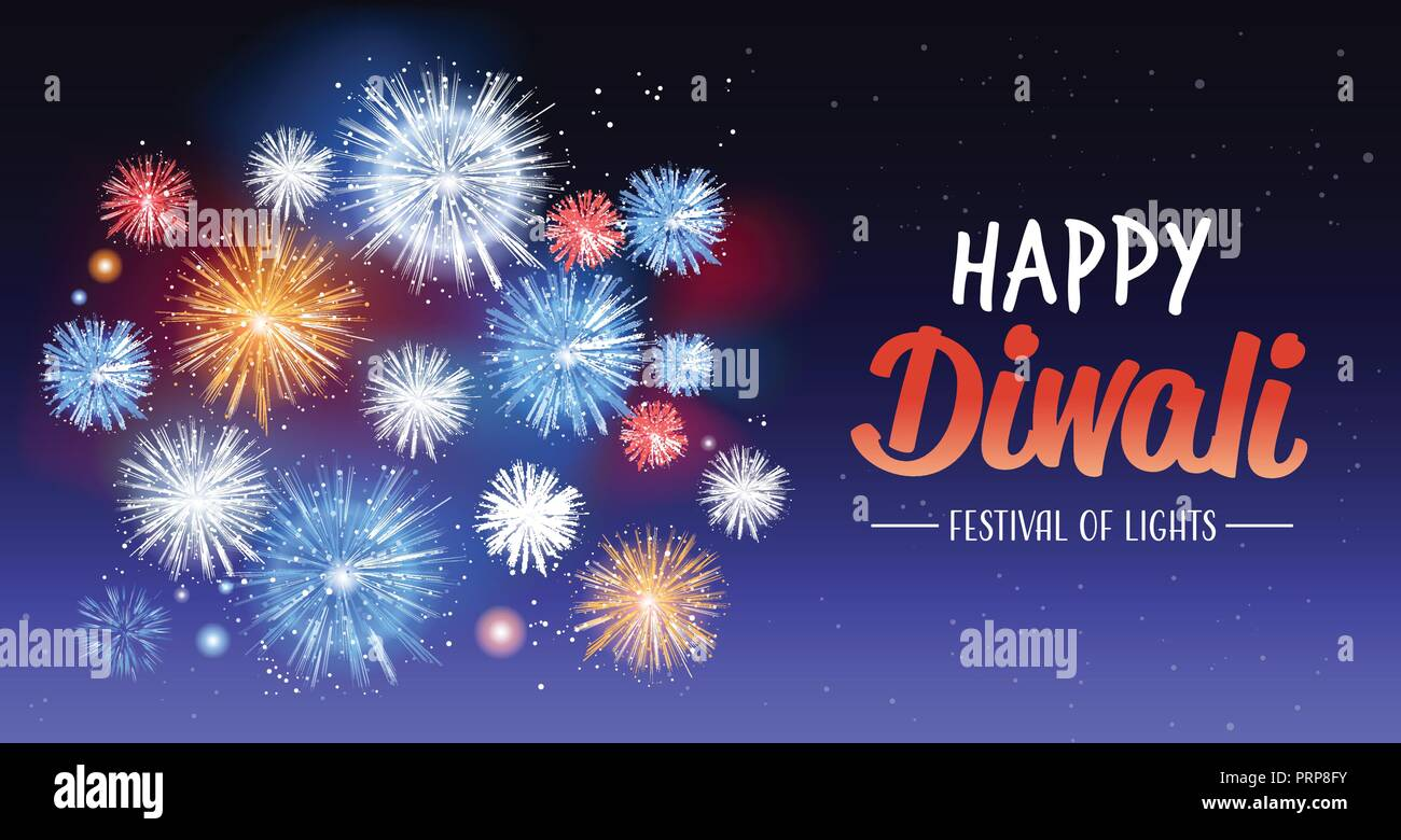 happy diwali traditional indian lights hindu festival celebration holiday concept flat greeting card template invitation horizontal copy space Stock Vector